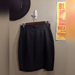 Vintage Black Midi Skirt with Button Back Accent